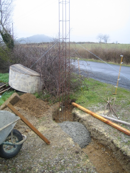 The trench is then filled with concrete.