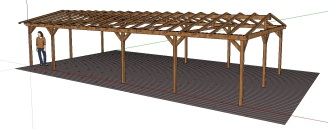 A visualisation of a proposed pergola to provide shade for the eating area. This will be fitted with shade sails.