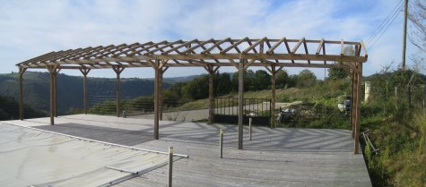 A panoramic view of the completed Pergola