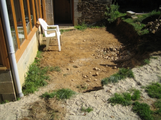 The area outside the doors becomes mud when it rains so a patio is required.