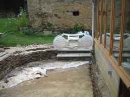 The other steps are laid. In this case there are only two as the ground slopes down here.