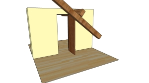 The inwards option, door opened avoiding the beam.