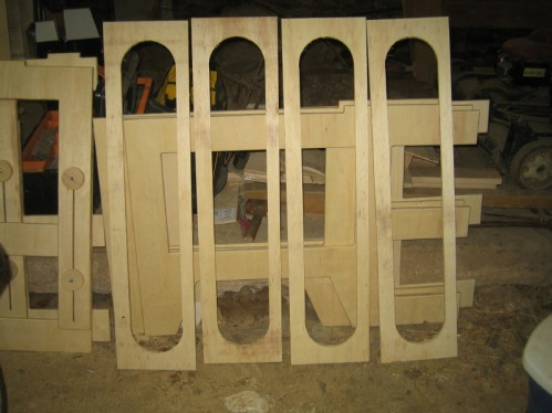 Four spreaders cut with the template.