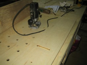 The 'bench dog' holes are cut. These allow work pieces to be clamped to the bench.