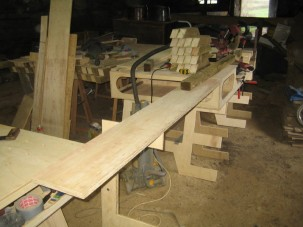 No sooner finished... Here you can see the extension arm being used to support long timbers. Very useful!