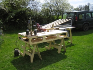 So, out with the bench, and on with some music.. Let's cut some wood.